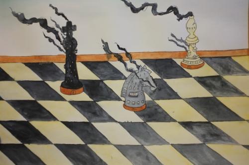 Jeu d'échecs, spectacle conte théâtre d'objet, résidence création LEM, Cie ABOUDBRAS jeu échecs, conte sur la guerre, contes de sagesse jeu d'échecs, conte lunéville, échiquier lunéville