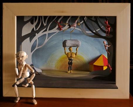 MARILOR, compagnie ABOUDBRAS, THEMAA, TGP Ffrouard, médiathèque Orange Bleue Frouard, compagnies marionnettes lorraines, Expo des boites MARILOR